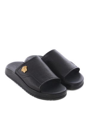 Versace: sandals online - Hammered leather slides