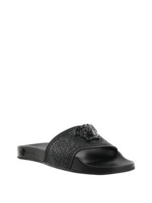 Versace: sandals online - Medusa Head rubber slide sandals