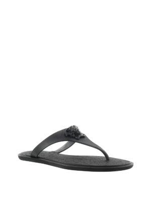 Versace: sandals online - Medusa Palazzo black thong sandals