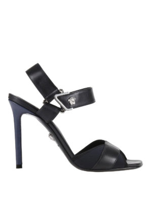 Versace: sandals - Velcro strap leather sandals