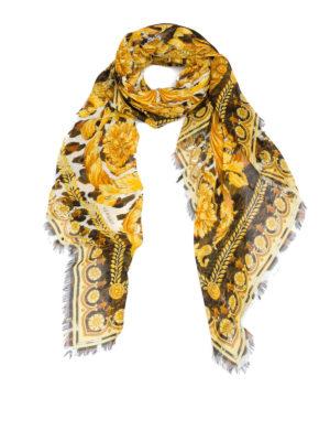 VERSACE: sciarpe e foulard - Foulard in misto seta Wild Barocco