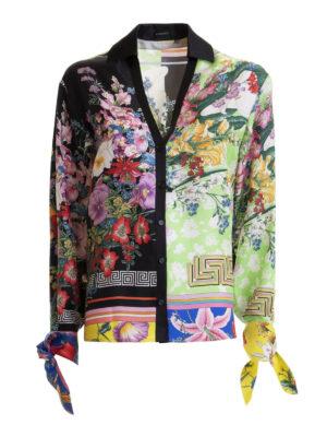 5bfccae97ada VERSACE  camicie - Camicia in twill di seta con stampa floreale