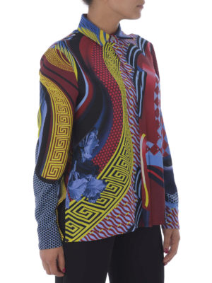Versace: shirts online - Greek fret print silk shirt