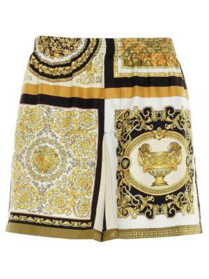 VERSACE: shorts - Barocco print multicolor silk shorts