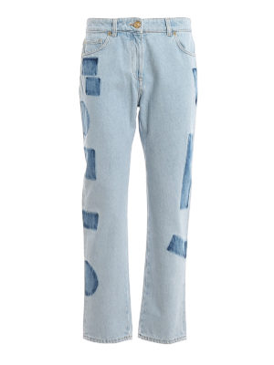 VERSACE: straight leg jeans - Tye-dye detailed denim jeans