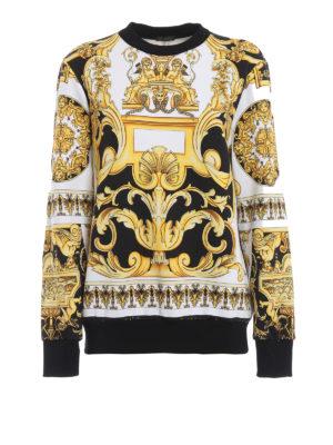 VERSACE: Felpe e maglie - Felpa in cotone con stampa barocca