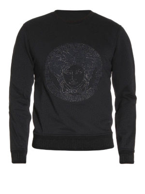 Versace: Sweatshirts & Sweaters - Embroidered logo patch sweatshirt