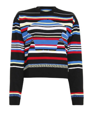 Versace: Sweatshirts & Sweaters - Multicolour striped sweatshirt