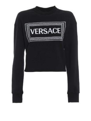 VERSACE: Felpe e maglie - Felpa crop con logo Versace 90s Vintage