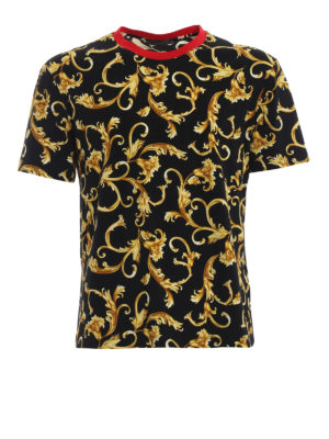 VERSACE: t-shirt - T-shirt con stampa Acid Baroque
