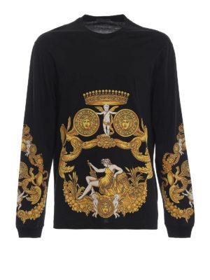 VERSACE: t-shirt - T-shirt nera e oro Barocca a manica lunga