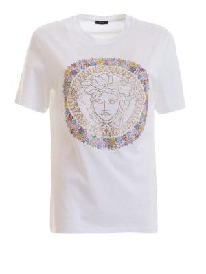 175ebdd248d4 VERSACE  t-shirt - T-shirt con Medusa in Bloom di strass