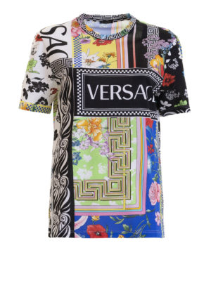 fe2a9dbdccc9 VERSACE  t-shirt - T-shirt in cotone stampato con logo