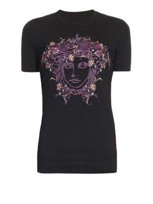 Versace: t-shirts - Medusa embroidery T-shirt