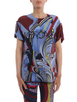 Versace: t-shirts online - Embroidered logo silk T-shirt