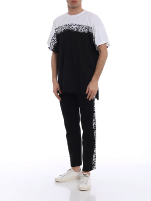 Versace: t-shirts online - Two-tone oversized cotton T-shirt