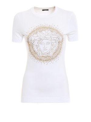 Versace: t-shirts - Rhinestone Medusa Head Tee