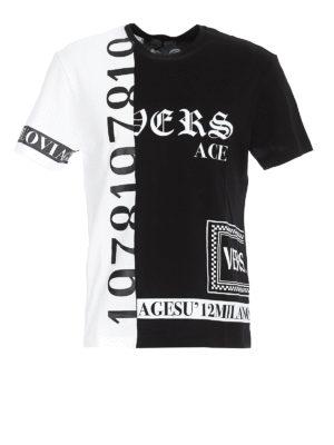 4bca1825 VERSACE: t-shirt - T-shirt in cotone stampato bicolore