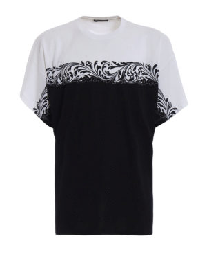 Versace: t-shirts - Two-tone oversized cotton T-shirt