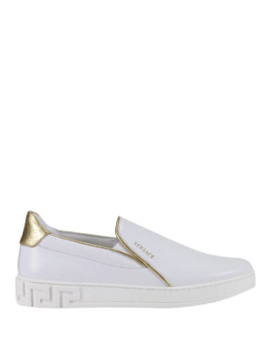 Versace: trainers - Gold-tone piping slip-on sneakers
