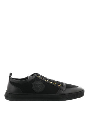 Versace: trainers - Leather and cotton low top sneakers