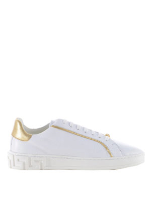 Versace: trainers - Leather sneakers with gold inserts
