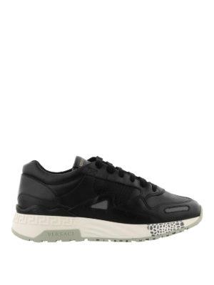 VERSACE: sneakers - Sneaker in pelle con inserti catarifrangenti