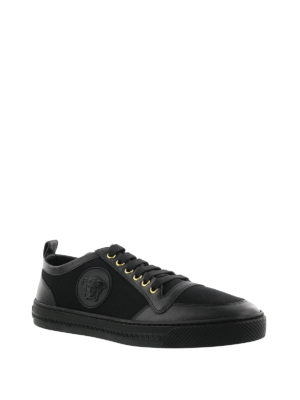 Versace: trainers online - Leather and cotton low top sneakers
