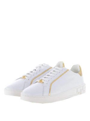 Versace: trainers online - Leather sneakers with gold inserts