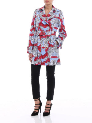 Versace: trench coats online - Barocco Istante techno trench