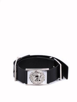 Versus Versace: belts - Leather belt featuring Lion buckle