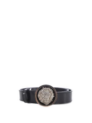 Versus Versace: belts - Lion's Head plaque leather belt
