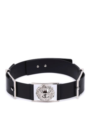 Versus Versace: belts online - Leather belt featuring Lion buckle