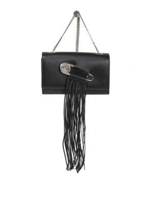 Versus Versace: clutches - Fringe piercing leather clutch