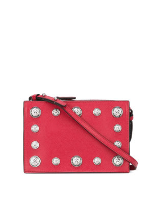Versus Versace: cross body bags - Lion Head studded leather small bag