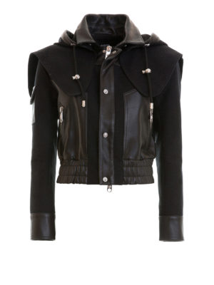 Versus Versace: leather jacket - Biker-inspired hooded jacket