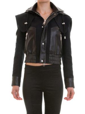 Versus Versace: leather jacket online - Biker-inspired hooded jacket