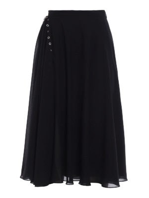 Versus Versace: Long skirts - Flared crepe layered black skirt