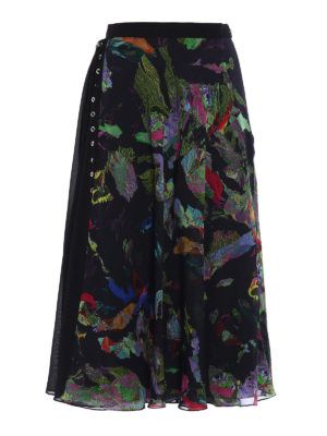 Versus Versace: Long skirts - Flared crepe layered skirt