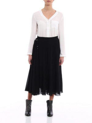 Versus Versace: Long skirts online - Flared crepe layered black skirt