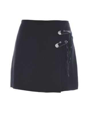 Versus Versace: mini skirts - FRINGES AND PINS CREPE MINI SKIRT