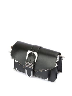 Versus Versace: pochette online - Clutch nera con zig zag e fibbia