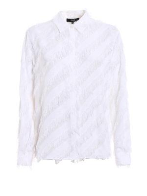 Versus Versace: shirts - Tonal oblique fringes crepe shirt