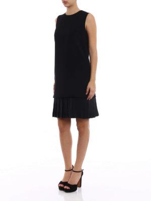 Victoria Beckham: knee length dresses online - Pleated bottom soft crepe dress