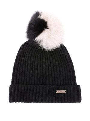 WOOLRICH: berretti - Berretto in misto lana con pompon bicolore