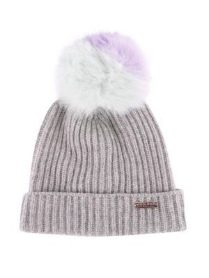 WOOLRICH: berretti - Berretto misto lana con pompon in pelliccia