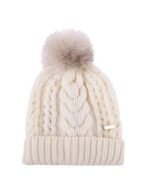 WOOLRICH: berretti - Berretto in lana con targhetta logo e pompon