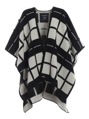 WOOLRICH: Mantelle e poncho - Cappa in lana a quadri con cintura