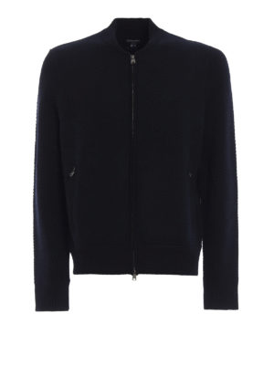 WOOLRICH: cardigan - Cardigan in lana modello bomber con zip