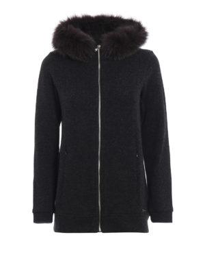 WOOLRICH: cardigan - Cardigan grigio con pelliccia staccabile